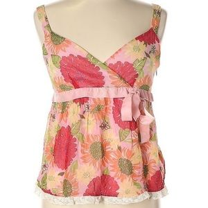Lilly Pulitzer Silk Floral Sleeveless Top Pink 8